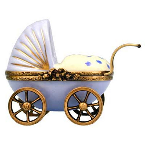 Magnifique Baby Carriage with Baby Boy Limoges Box