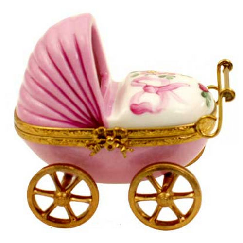 Magnifique Baby Carriage with Baby Girl Limoges Box