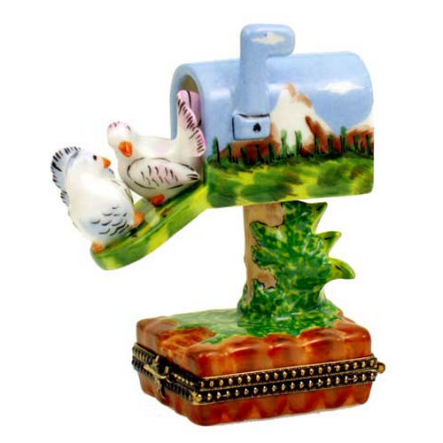 Magnifique Mountain Scene Mailbox with Doves Limoges Box