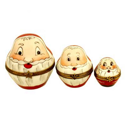 Magnifique Three Stacking Roly Poly Santas Limoges Box