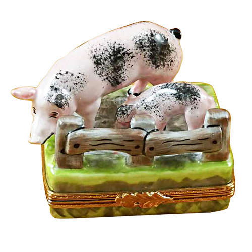 Magnifique Two Spotted Pigs By Fence Limoges Box