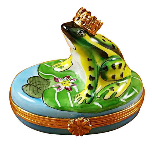 Magnifique Frog with Crown Limoges Box