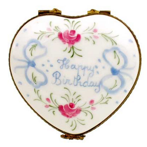 Magnifique Happy Birthday Heart Limoges Box