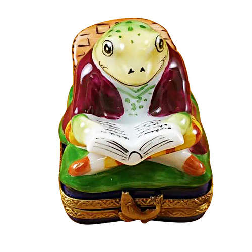 Magnifique Fishing Frog with Book Limoges Box