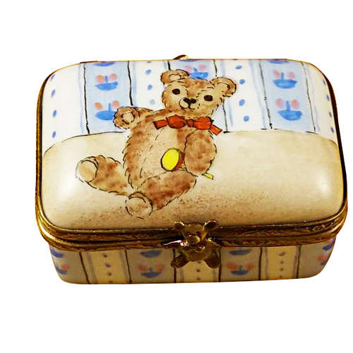 Magnifique Rectangle Box with Teddy Bear Limoges Box