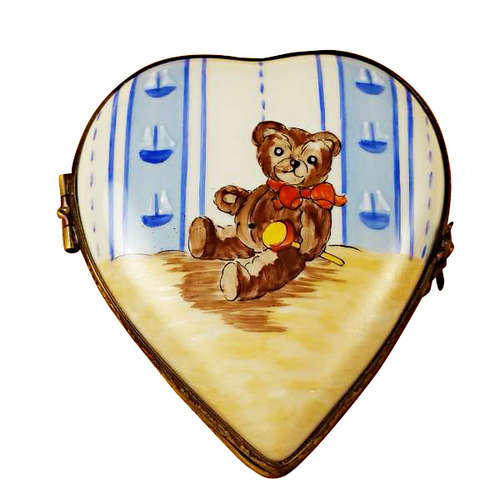 Magnifique Heart with Teddy Bear Limoges Box