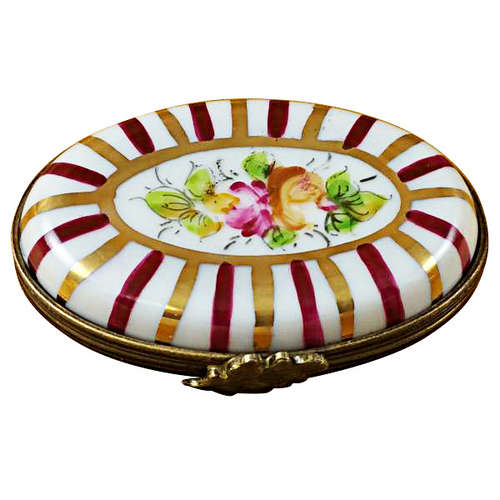 Magnifique Red Striped Oval Limoges Box