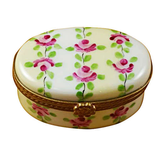 Magnifique Oval White/Beige Striped Limoges Box