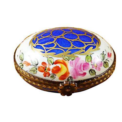 Magnifique Blue Oval with Gold Circles Limoges Box