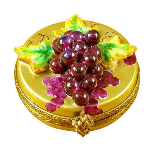 Magnifique Grapes on Gold Oval Limoges Box