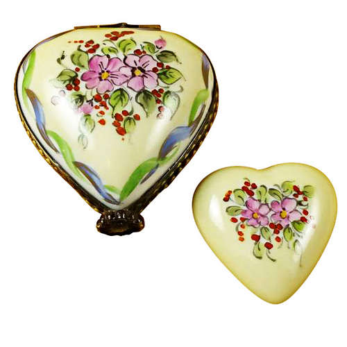Magnifique Yellow and Green Heart with Heart Limoges Box