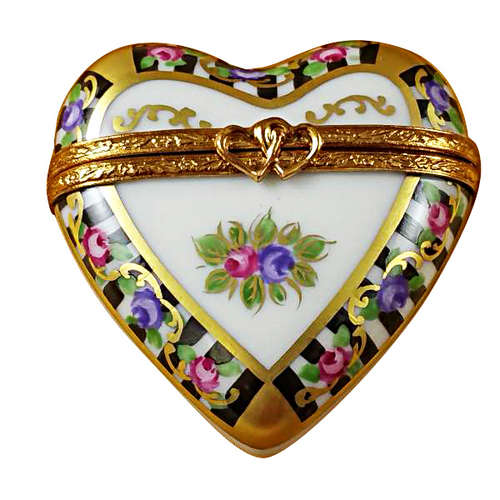 Magnifique Black and White Heart Limoges Box