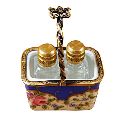 Magnifique Blue Basket with Two Bottles Limoges Box