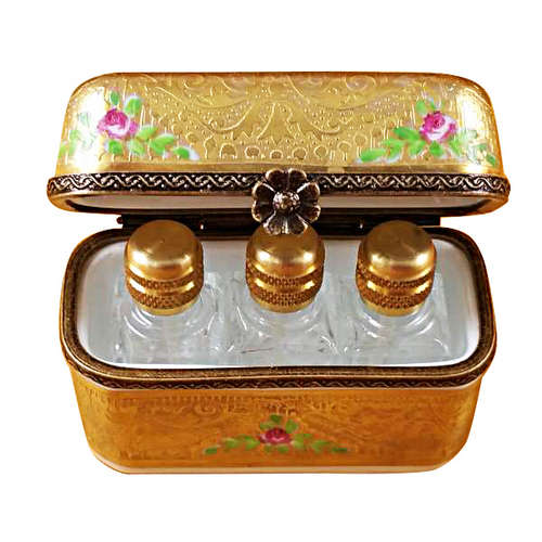 Magnifique Gold Floral with Three Bottles Limoges Box