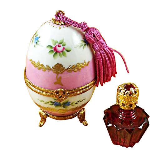 Magnifique Pink Egg with Bottle Limoges Box