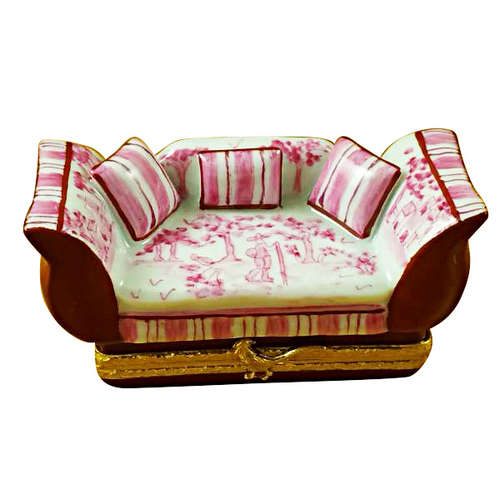 Magnifique Pink Toile Sofa with Pillows Limoges Box