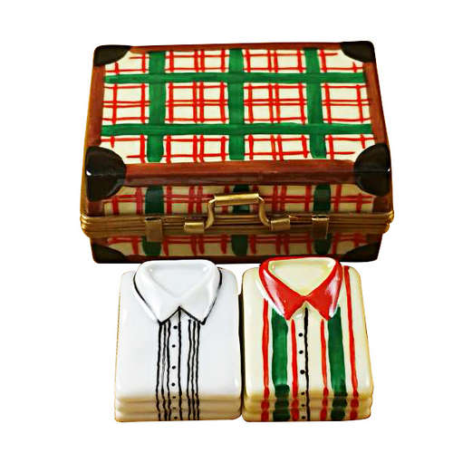 Magnifique Suitcase with Two Shirts Limoges Box