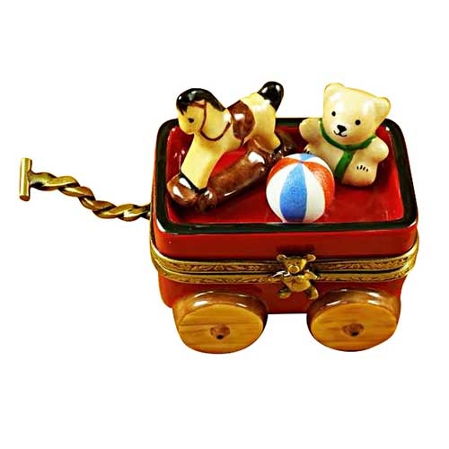 Magnifique Little Red Wagon with Teddy Bear Limoges Box