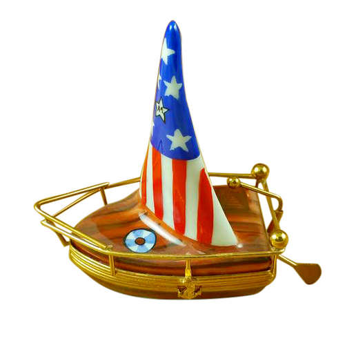 Magnifique USA Sailboat with Rudder Limoges Box