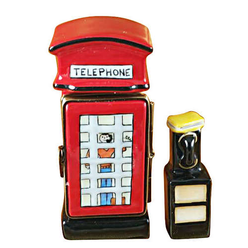 Magnifique British Phone Booth with Removable Phone Limoges Box