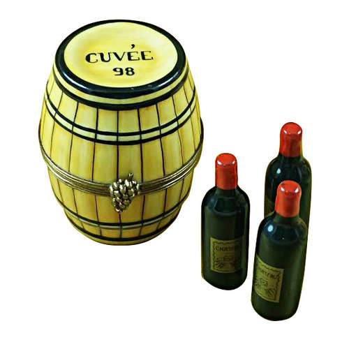 Magnifique Wine Barrel with Three Bottles Limoges Box