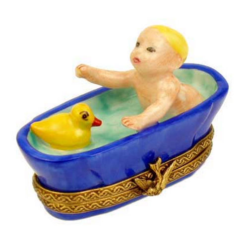 Magnifique Baby in the Tub with a Duck Limoges Box