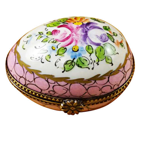 Magnifique Egg with Pink and Flowers Limoges Box