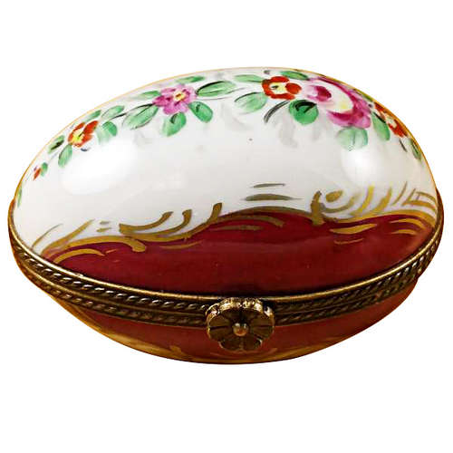 Magnifique Burgundy Egg with Flowers Limoges Box
