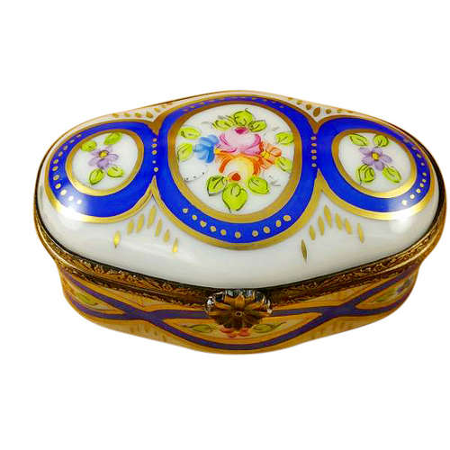 Magnifique Oval with Blue and Flowers Limoges Box