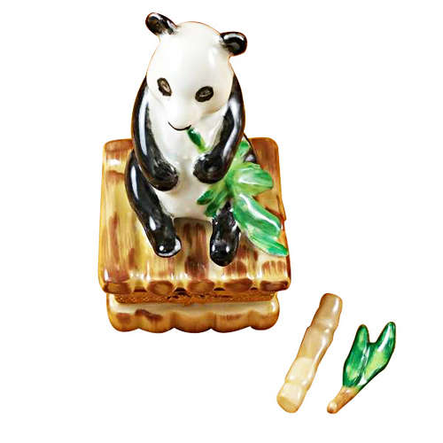 Magnifique Panda with Removable Bamboo and Green Leaf Branch Limoges Box