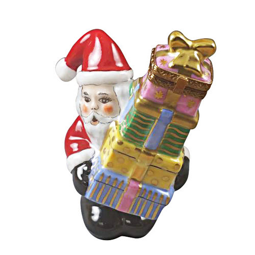 Magnifique Santa with Stacked Presents Limoges Box