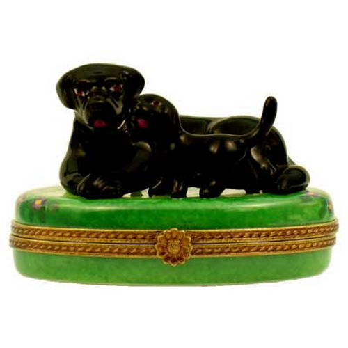 Magnifique Black Labrador Dog with Lab Puppy Limoges Box