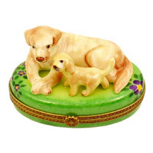 Magnifique Yellow Labrador Dog with Lab Puppy Limoges Box