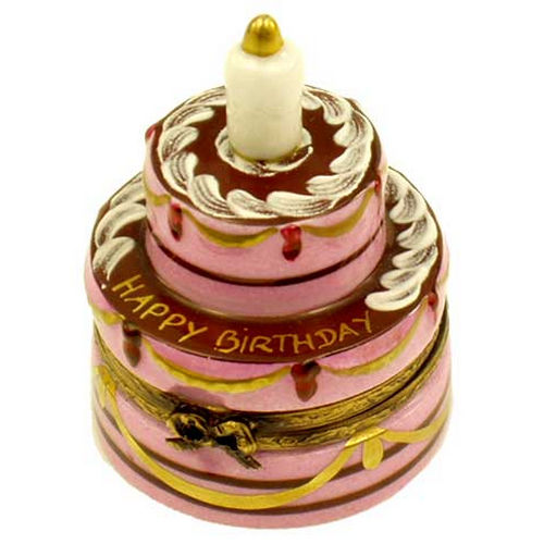 Magnifique Luscious Birthday Cake with Candle Limoges Box