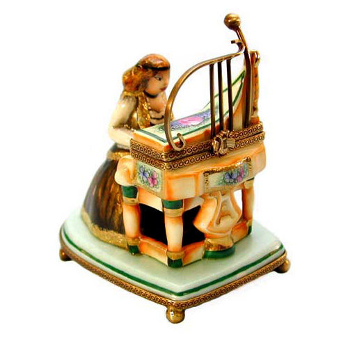Chanille Lady with Harpsichord Limoges Box
