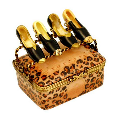 Magnifique Leopard Print Designer Shoebox with Ladies Shoes Limoges Box
