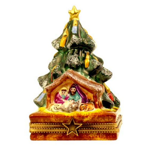 Magnifique Christmas Tree with Nativity Scene (gold star) Limoges Box