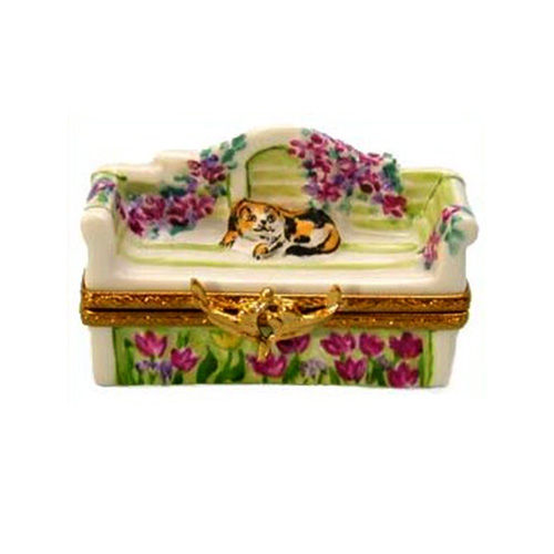 Artoria Garden Bench with Cat Limoges Box