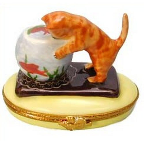 Artoria Cat with Fishbowl Limoges Box