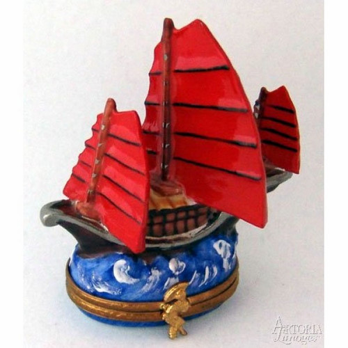 Artoria Chinese Junk Ship Limoges Box