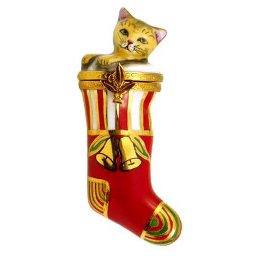 Artoria Kitten in Christmas Stocking Limoges Box