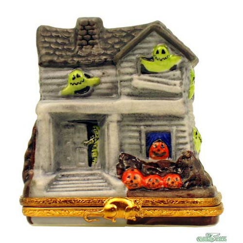 Artoria Haunted House with Green Ghosts Limoges Box