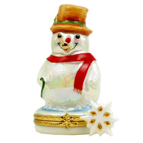 Artoria Snowman with Gold Pipe Limoges Box