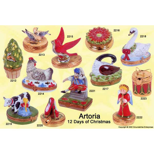 Artoria 12 Days of Xmas - swans a-swimming Limoges Box