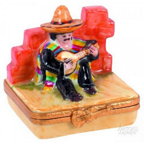 Artoria Mexican with Guitar Limoges Box