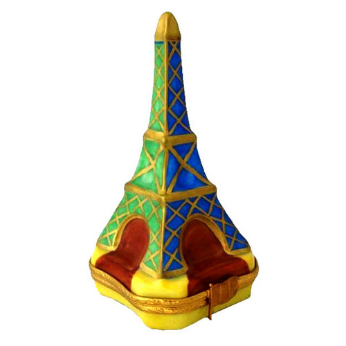 Artoria Eiffel Tower: Blue and Green Limoges Box