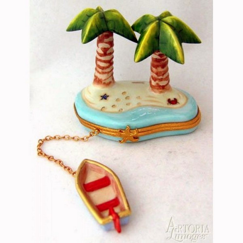 Artoria Palm Trees with Row Boat Limoges Box