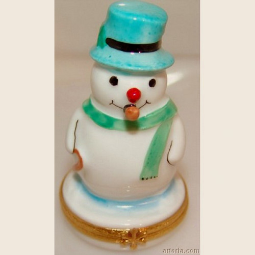 Artoria Snowman with Blue Hat Limoges Box