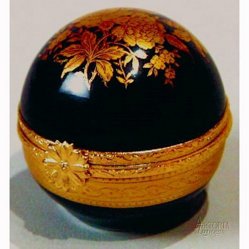 Artoria Cobalt Blue Ball- Gold  Limoges Box