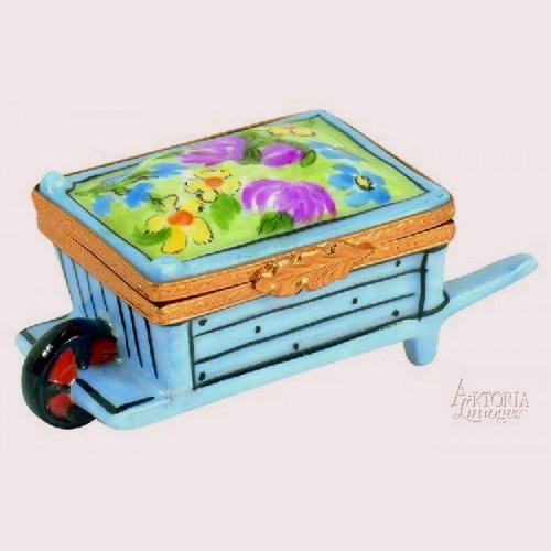 Artoria Wheel Barrow: Blue with Flower Limoges Box